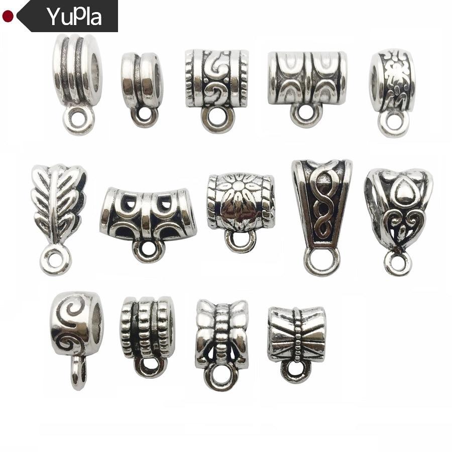 30pcs/lot Antique Silver Charm Bail Beads Pendant Clip Clasp Connectors for Bracelet Necklace Jewelry Making AccessDIY Jewelry jewelry making