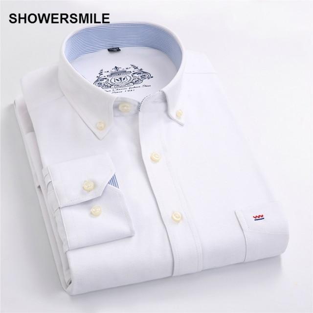 SHOWERSMILE Clothing Formal Male Button Down Shirts Autumn Men Shirt Long Sleeves Korean Fashion Slim Fit Mens Dress Shirt White