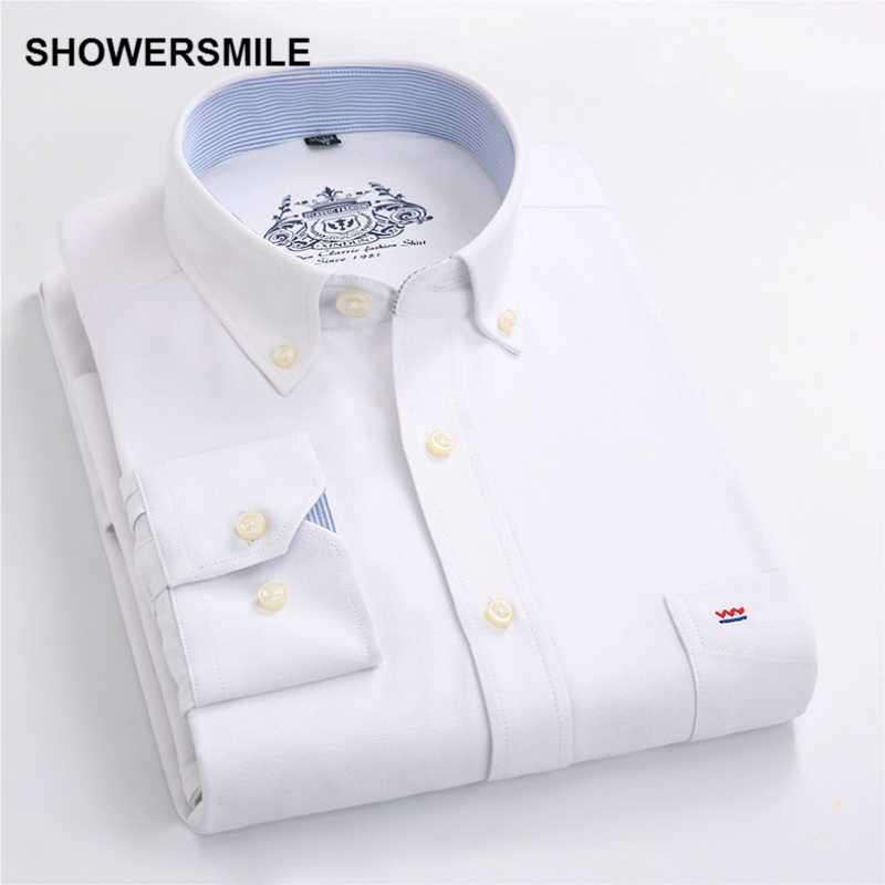 SHOWERSMILE Clothing Formal Male Button Down Shirts Autumn Men Shirt Long Sleeves Korean Fashion Slim Fit Mens Dress Shirt White