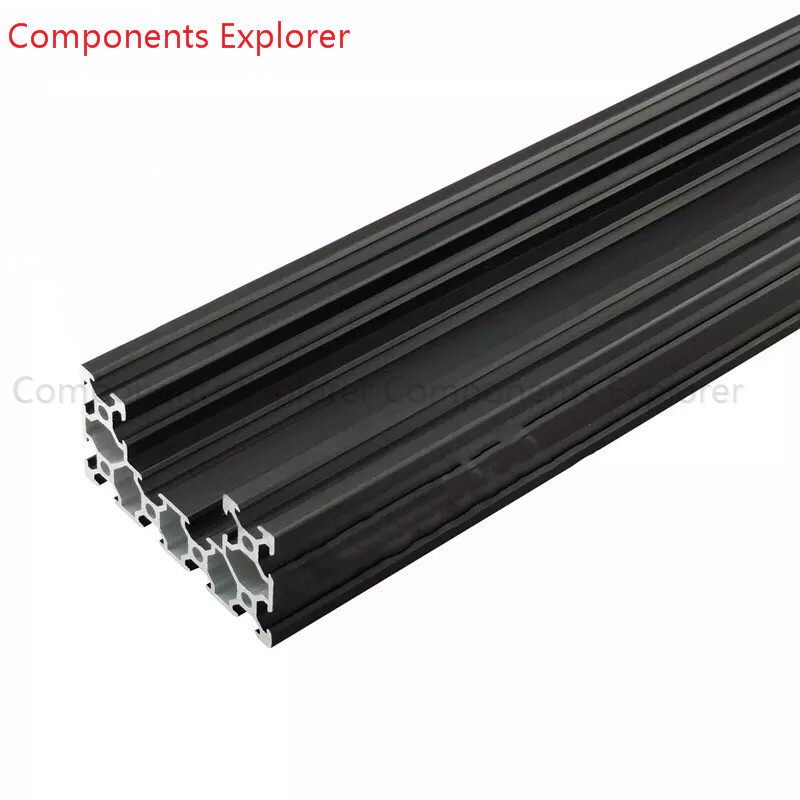 Arbitrary Cutting 1000mm 4080U V Slot Black Aluminum Extrusion Profile,Black Color.