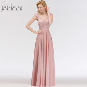 Image 3 - Vestido Madrinha Dusty Rose Lace Long Bridesmaid Dresses Sexy A Line Chiffon Dress for Wedding Party Robe Demoiselle Dhonneur