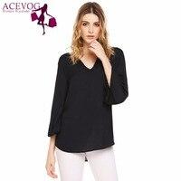Acevog Latest Flare Sleeve Asymmetrical Hem Solid Chiffon Blouse Women Tops Casual V Neck 3 4