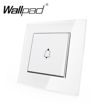 1 Gang Doorbell Reset Switch Wallpad 110-250V White Glass Panel EU European Style Reset Doorbell Jingle Bell Switch with Claws chint lighting switches 118 type switch panel new5d steel frame four position six gang two way switch panel
