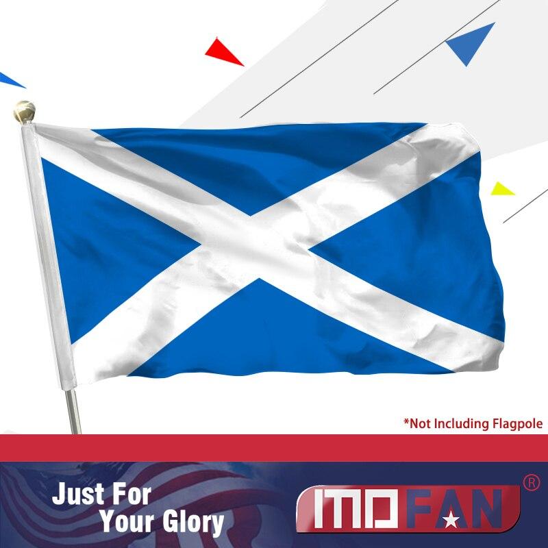 MOFAN Scotland Flag - Vysoce kvalitní trvanlivé a dvojitě prošité - skotské vlajky Polyester se 2 mosaznými průchodkami 3x5 Ft
