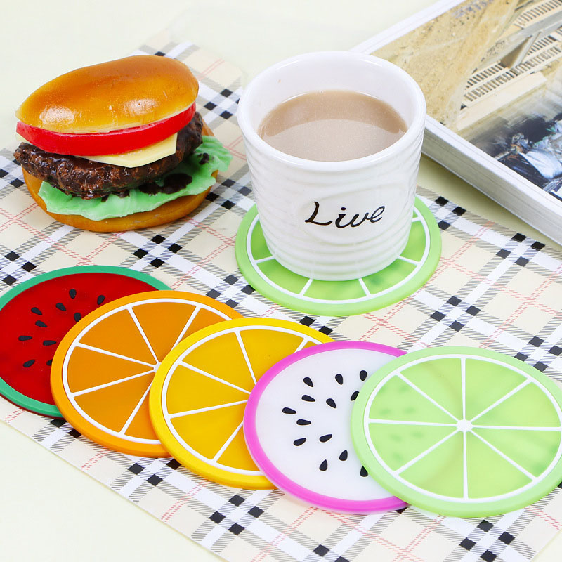 Cup Mat Pad Coaster Fruit Shape Silicone Cup Pad Slip Insulation Pad Hot Drink JJJCD72