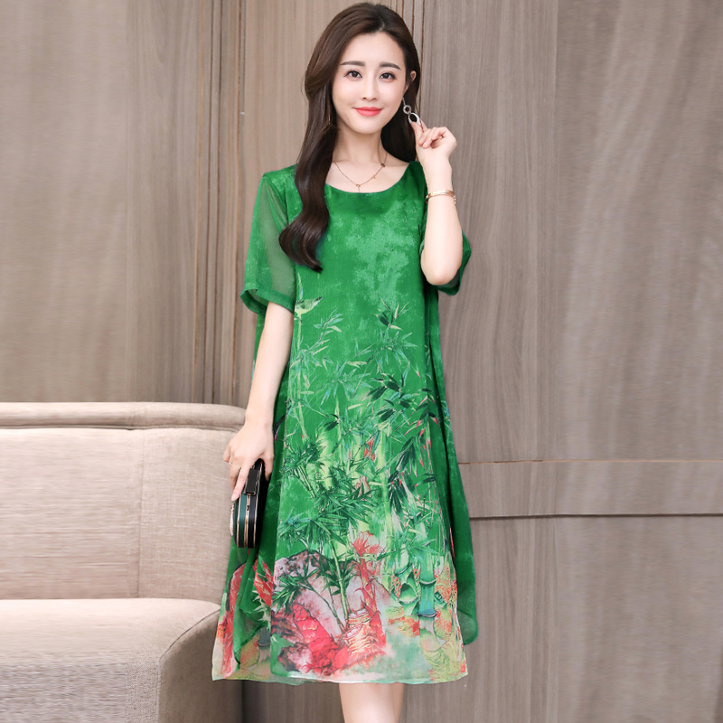 Bamboo Leaf Double-printed Summer Dress Plus Size M-3XL Womens Dresses Casual Gown Loose Knee-Length Robes Party Night Dresses