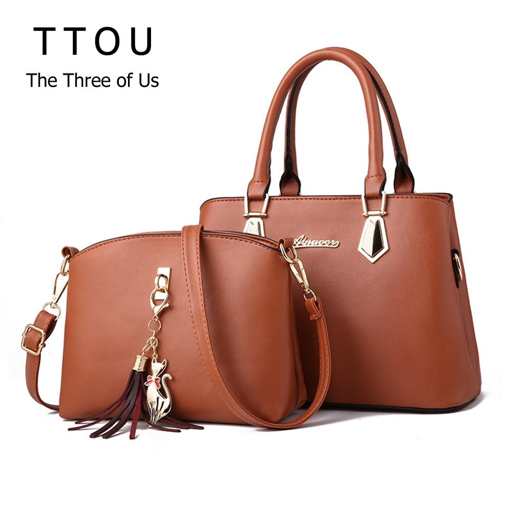 TTOU 2 PCS Set Composite Handbag Women Bag Vintage Casual Tote Fashion Messenger Bags Top-Handle Shoulder Purse Wallet Leather