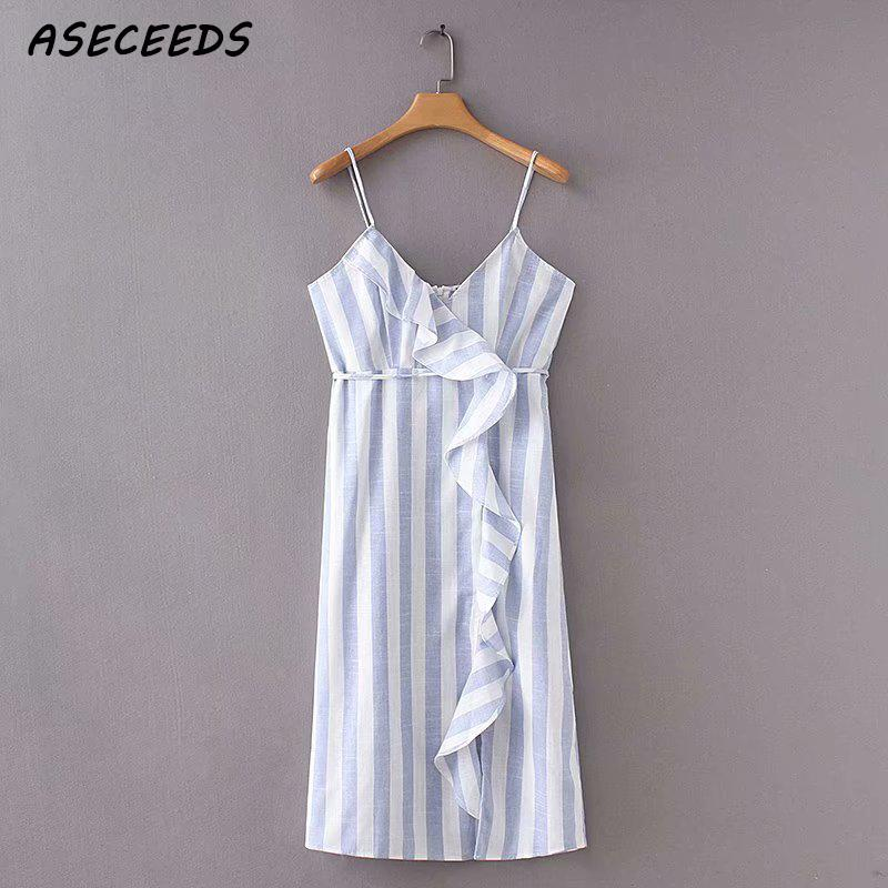 654fa46c4246 Detail Feedback Questions about Sexy ruffles blue white striped dress women  sleeveless wrap cotton linen dress Summer cami midi casual dress 2018 beach  ...