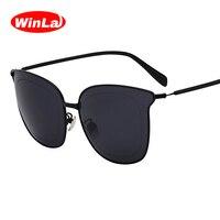 Winla New Fashion Women Sunglasses Cat Eyes Sunglasses Luxury Brand Designer Mirrored Lenses Eyewear Female Oculos