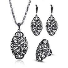 Индийские Свадебные Ювелирные наборы для женщин античный серебряный цвет полые черные кристаллы, Цветок Кулон Винтаж Мода ожерелье серьги набор