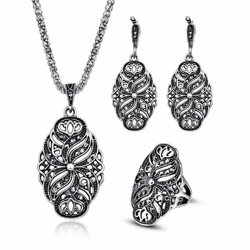 748c07d69589 Conjuntos de joyas étnicas para mujeres Color plata antigua completo negro  Rhinestone cristal flor colgante collar