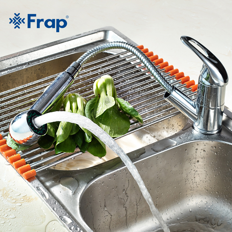 FRAP New Kitchen Faucets 360 Degree Swivel Pull Out Kitchen Sink Faucet Water-Saving Basin Crane Mixer Brass Tap F6003