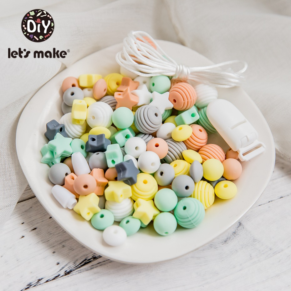 Let's Make 1Set Baby Pacifier Chain DIY combination Silicone Holder For Nipples Baby Teether Necklace Accessories Pacifier Clip
