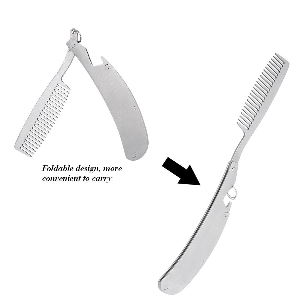 Foldable Hair Comb Pocket Clip Hair Moustache Beard Comb Folding Male Mustache Shaving Brush Stainless Steel Facial Hair Brush 4