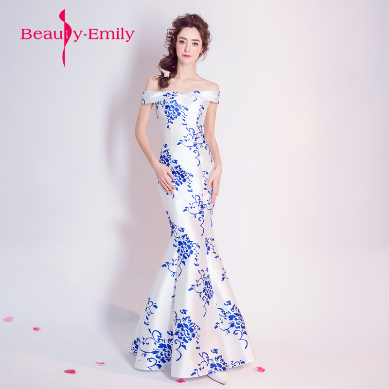 Chinese style blue and white porcelain evening dress vestido de festa 2018 graduation prom gowns boat neck formal dresses