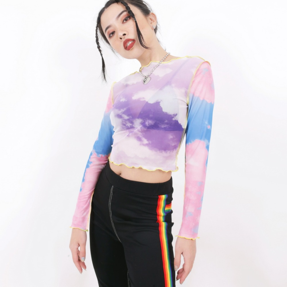 498e179efd411 Vintage cute kawaii sweet shirt mesh perspective multicolored clouds crop  tops tshirt women long sleeve tops -in T-Shirts from Women s Clothing on ...