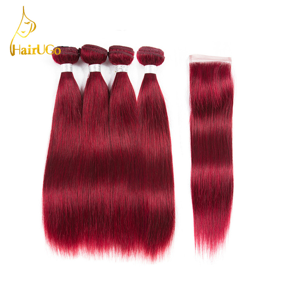 HairUGo Hair Pre -colored Brazilian 4 Bundles With Closure Human Hair #T1b/39j Non Remy Straight Hair Bundles With Closure