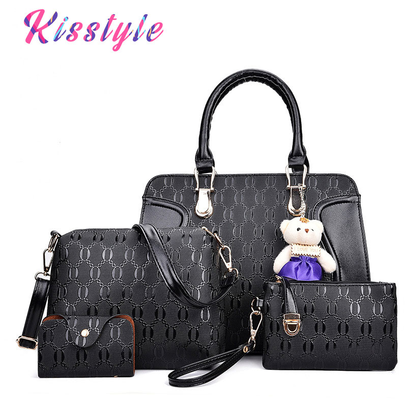 Kisstyle 4pcs Women Leather Bags Handbags Famous Brand Shoulder Bag Female Casual Tote Women Messenger Bag Set Bolsas Feminina mtenle leather bags handbags women s famous brands bolsa feminina big casual women bag female tote shoulder bag ladies large fi