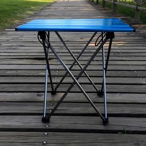 Image 3 - Mesa plegable portátil, plegable, para Camping, barbacoa, senderismo, azul, Mini para mochila, escritorio, viaje, pícnic al aire libre, aleación de aluminio, ultraligero
