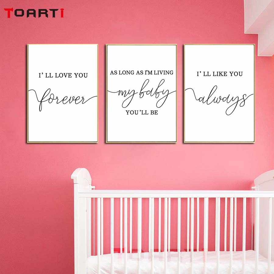 Baby Love Phrase Quote Modular Pictures Nursery Wall Art Canvas Painting Nordic Vintage Posters&Prints Kids Room Home Decoration