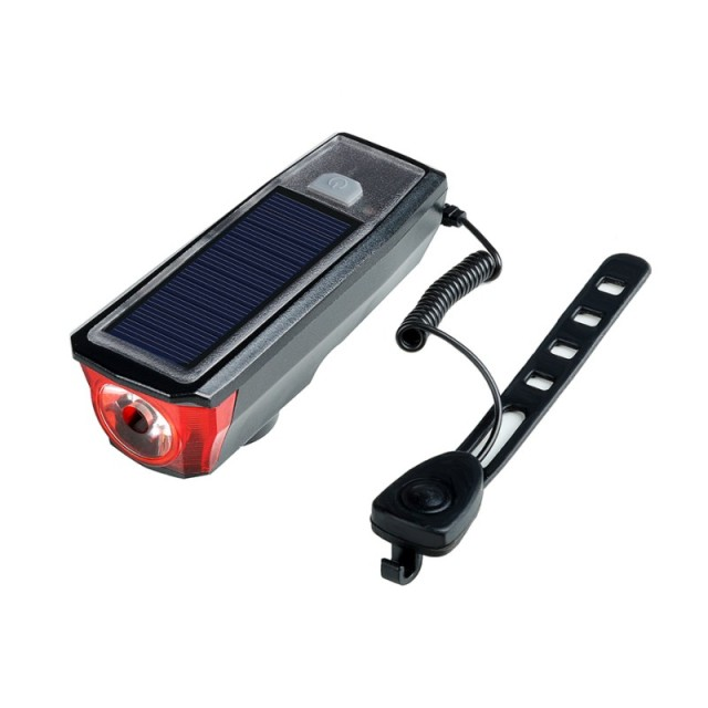 Solar Power Bicycle Front Light Bike Tail Rear Light Bicycle USB Rechargeable Lamp Cycling LED Flashlight Lantern Horn Bell 3