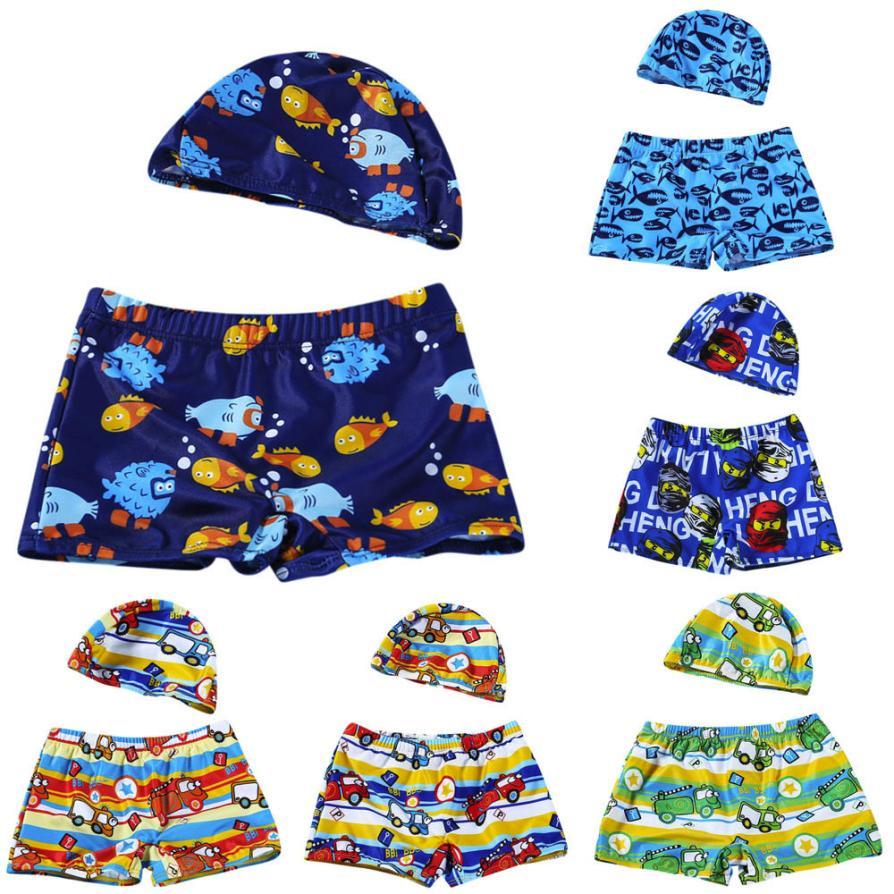 Home Boys Board Shorts Fashion Summer Cute Comfy 2pcs Kids Baby Boys Stretch Beach Swimsuit Swimwear Trunks Shorts+hat Set D300314