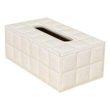 GSFY-Durable Inicio Alquiler de Rectángulo de Cuero de LA PU Cubierta de la Caja de Papel Caja De Pañuelos Servilleta blanca