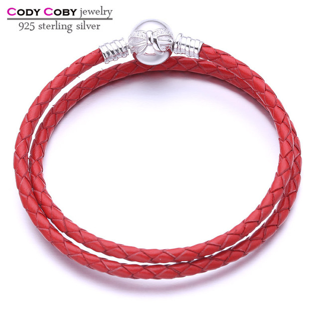 Real Double Red Leather Snake Chain Women Knot Bracelet With 925 Sterling Silver Bow Clasp Bracelets