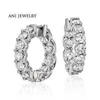 ANI Platinum PT950 Women Circle Earrings Certified I S1 Diamond Luxury 3 46 CT Women Wedding