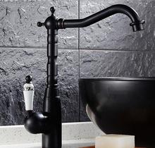 Современный кухонный кран поворотный латунь смесители ванной Высокий кран раковины смесителя черный старинной раковины коснитесь Бесплатная доставка