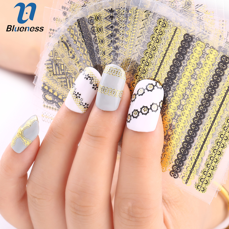 Nail Stickers 24pcs/lot Nail Art 3d Beauty Gold Design Brand Charms Manicure Bronzing Decals Decorations Tools Fashion Gift 24pcs lot 3d nail stickers beauty summer styles design nail art charms manicure bronzing vintage decals decorations tools jh151