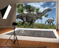 Photography Backdrop Jurassic Period Dinosaur Blue Sky White Cloud Coconut Trees Nature Landscape Birthday
