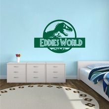 Room Jurassic World Wall Sticker Custom Name Vinyl Decal Dinosaur Style Wallpaper Art