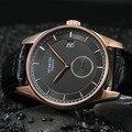 Elegant British Wind Men Sapphire Leather Watch Import Quartz Calendar Analog Clock Brand Fashion Business Dress Relojes NW4243