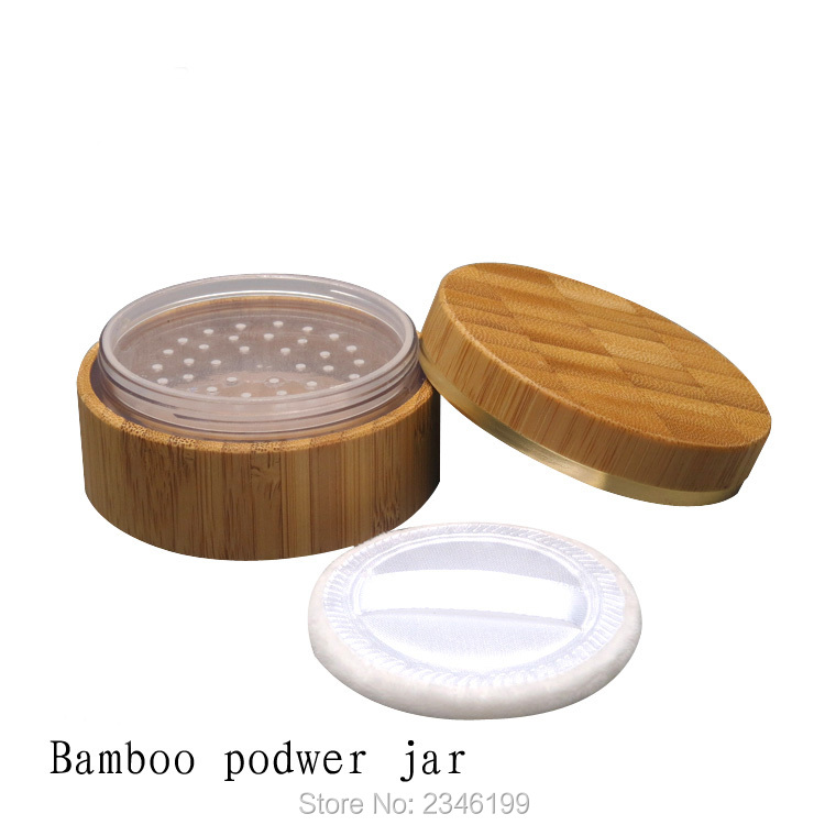 30ML 30G 6pcs/lot Empty Bamboo Wooden Loose Powder Jar with Sifter n Jar, Top Garde DIY Environmental Cosmetic Powder Case 200pcs x 200g big frosted abs plastic cosmetic packaging bath salt jar with wooden spoon