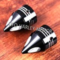 New Black Spike Front Axle Nut Covers 2004-2007 Harley Touring Dyna Parts