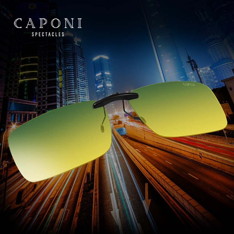 Caponi Myopia Glasses Polarized Clip Type Day And Night For Male And Female Eyewear Night Vision Driving Sunglasses RY1287