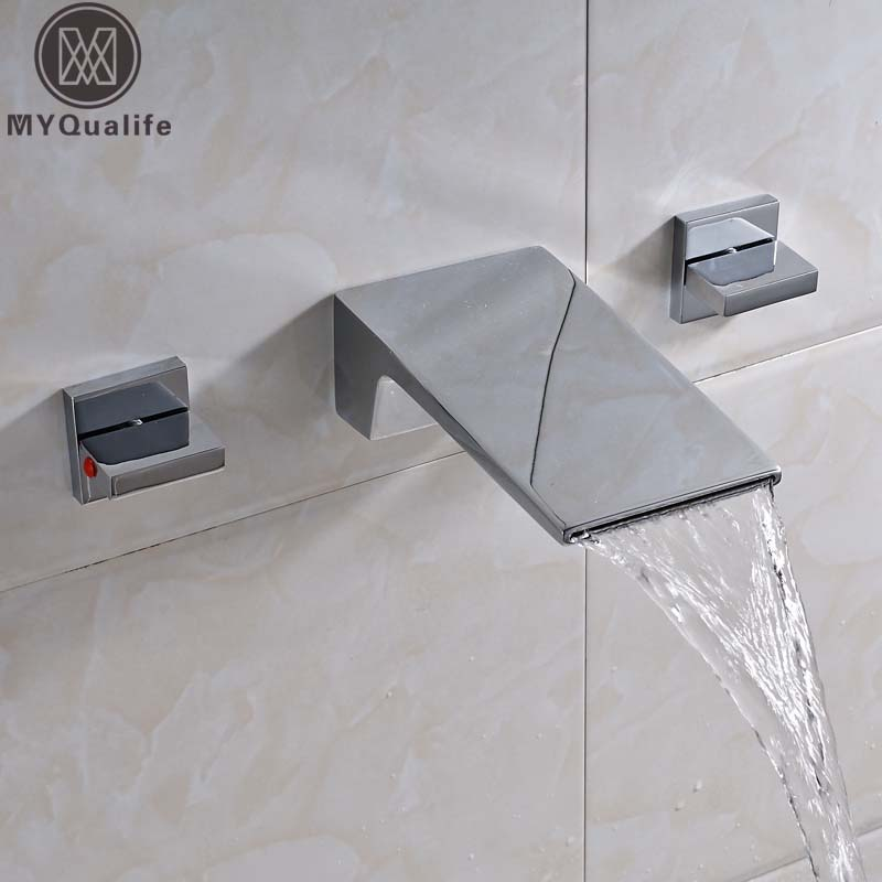 Newly Waterfall Long Spout Bathroom Tub Sink Faucet Wall Mounted Dual Handle Lavatory WC Basin Mixer Taps Chrome Finish