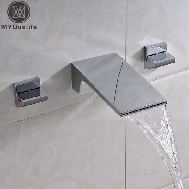 € 56.12 41% de réduction|Nouvellement cascade Long bec salle de bain  baignoire évier robinet mural double poignée lavabo WC mitigeur robinets ...