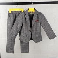 LUOBOBEIBEI children's suit costume for kids tuxedo baby boy suit formal plaid blazer wedding school clothing spring blazer