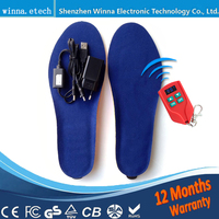 NEW USB MEN INSOLES Electric Foot Warmer Remote Control Thermal Insoles 2000mAh Men S 41 46