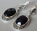 Vintage 925 Silver Jewelry Natural Blue Sand Stone Marcasite Earrings 11/2""