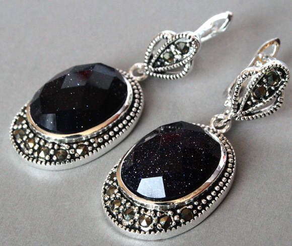 """Vintage 925 Silver Jewelry Natural Blue Sand Stone Marcasite Earrings 11/2"""""""