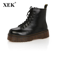 Fashion Women Boots Spring Autumn Motorcycle Ankle Platform Boots Ladies Boots Black PU Leather Shoes Women shoes Boots ST331