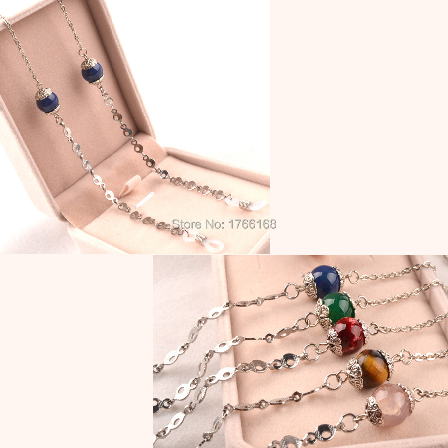 Wholesale 10PCS New Pretty Metal Sunglasses Eyewear Glasses Cord Chain Lanyard with good quality silicone ends  5colors option