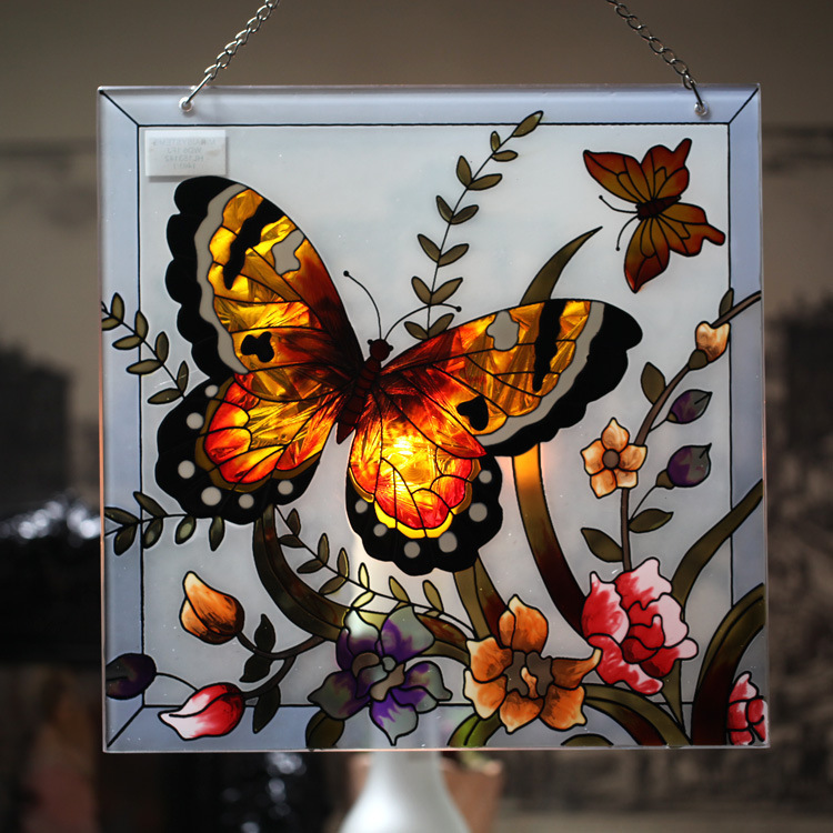 Wall Art Glass Butterflies : Country style butterfly and flower painted stained glass