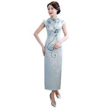 2e33f4aaae9 2019 светло-зеленый Стильные дамы китайские традиционные платья вискоза  Qipao воротник-стойка пикантные Cheongsam Плюс Размеры M-XXXXL