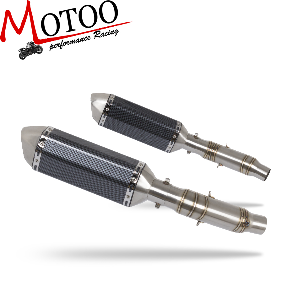 Motoo - motorcycle slip on FOR Kawasaki Z1000 2010-2016 Exhaust Muffler Pipe Link Carbon Fiber Exhaust middle Pipe Escape все цены