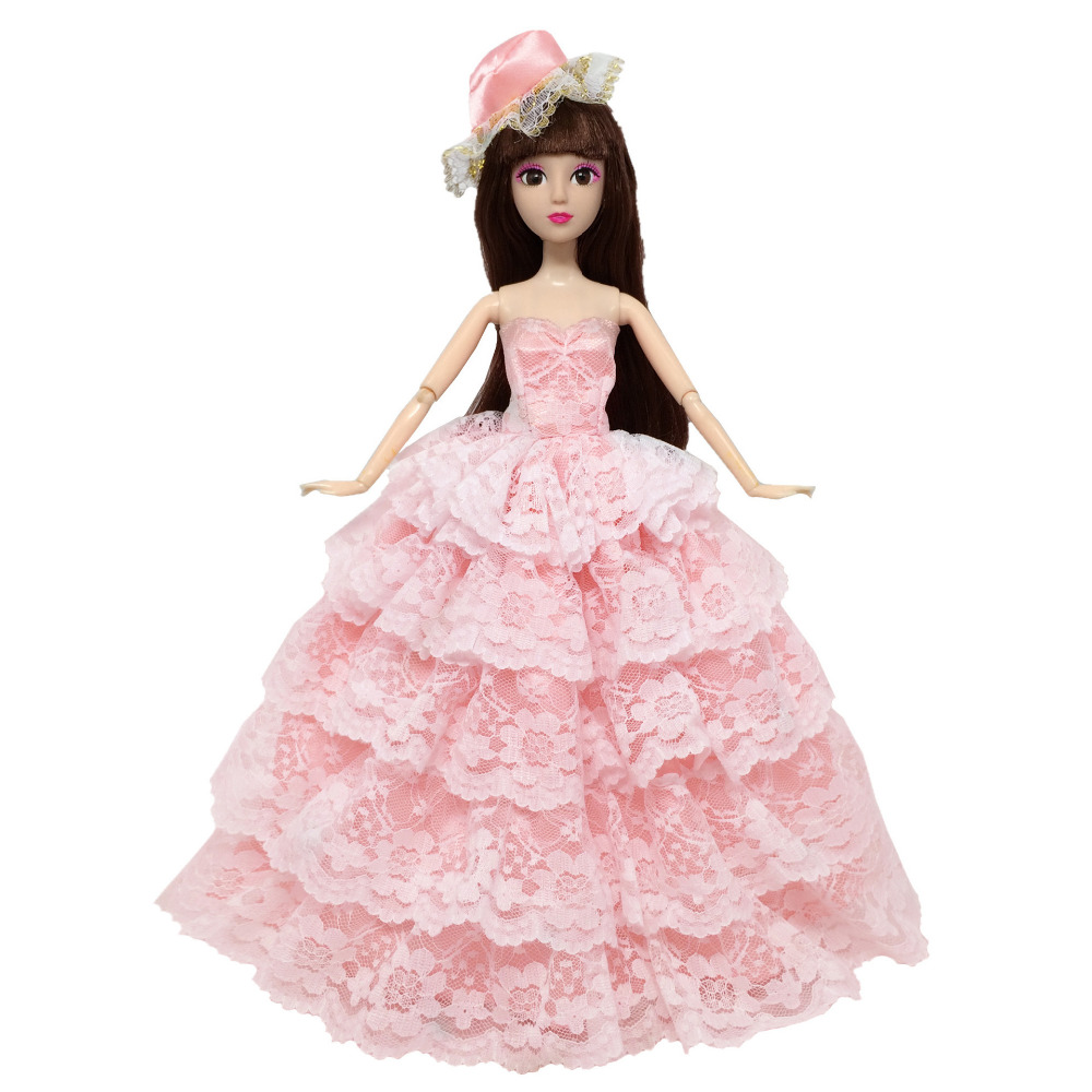 NK One Pcs Princess Doll Wedding Dress +Hat Noble Party Gown For Barbie Doll Fashion Design Outfit Best Gift For Girl Doll