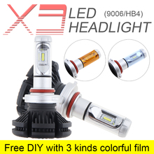 2pcs 9006 HB4 X3 50W 6000LM 3000K 6500K 8000K LED Car Headlight Kit Fog Lamp Hi or Lo Light Bulbs with 3 Kinds Colorful Film